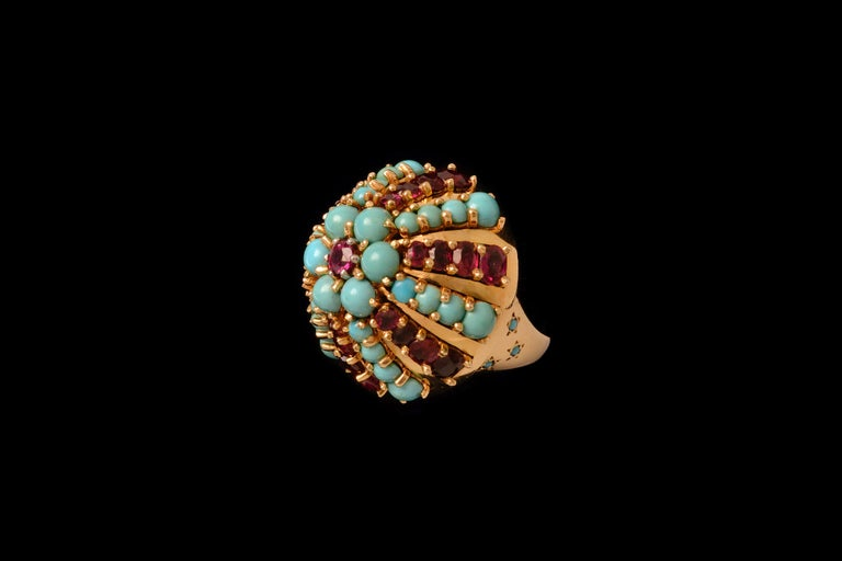 Women's or Men's 1960s Illario, Ruby, Turquoise and Gold Ring