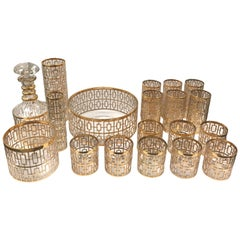 1960s Imperial Glass Shoji Gold Large Barware and Glasses Set