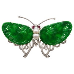 1960s Imperial Jade, Pearl and White Gold and Ruby Butterfly Brooch