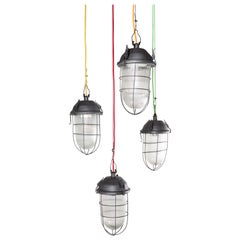 1960s Industrial Caged Hanging Ceiling Pendant Lamps/Lights with Original Glass