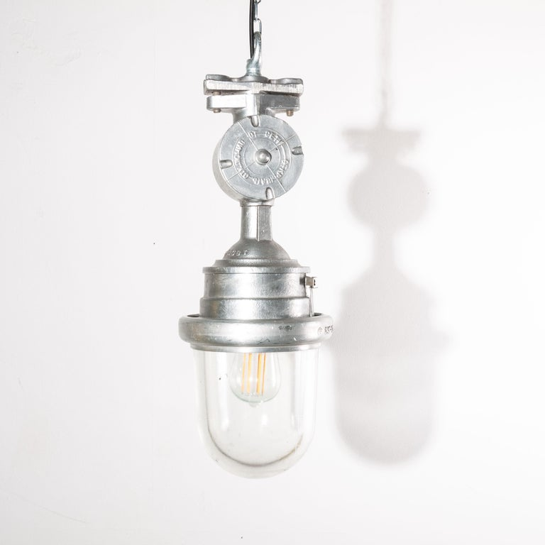 1960s vintage original industrial explosion proof ceiling pendant lamps/lights with glass domes. A hugely popular lamps we have a number of these stunning lamps available. Made from cast aluminium each with their own weathered and patinated original