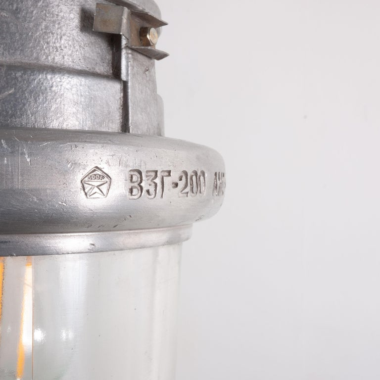 Russian 1960s Industrial Explosion Proof Ceiling Pendant Lamps/Lights with Glass Dome For Sale