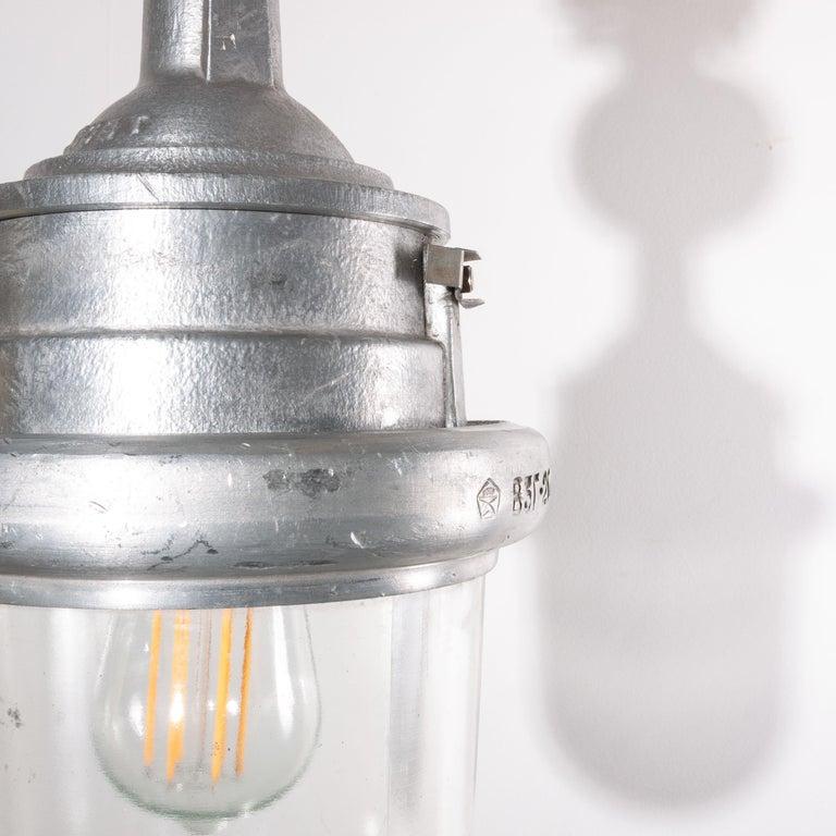 1960s Industrial Explosion Proof Ceiling Pendant Lamps/Lights with Glass Dome For Sale 3