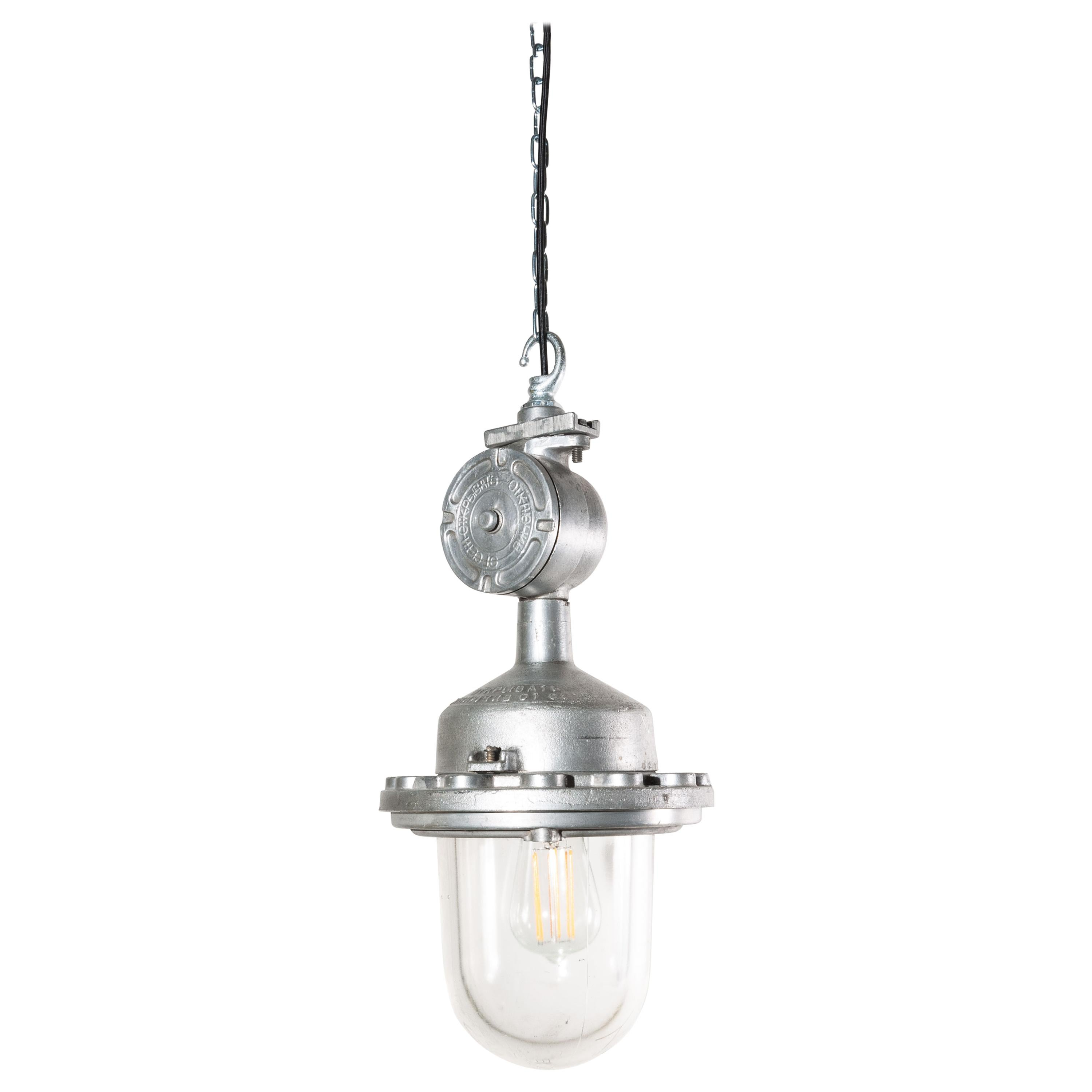 1960s Industrial Explosion Proof Ceiling Pendant Lamps/Lights, with Glass Dome