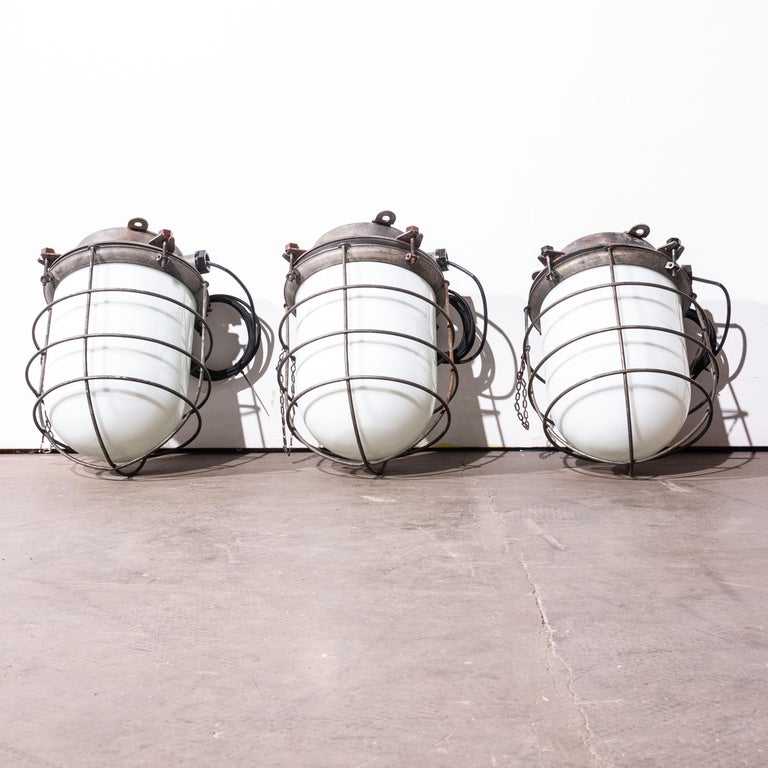 1960s Industrial Ships Ceiling Pendant Lamps/Lights with Caged Opal Glass For Sale 2