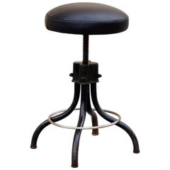 1960s Industrial Shop Stool, Refinished in Black on Black
