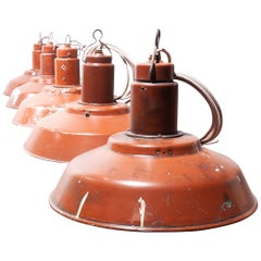 1960s Industrial Weathered Ceiling Pendant Lamp/Light Shades, Burnt Red