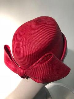 1960s Irene Of New York Fuchsia Straw Pillbox Hat W/ Large Bow At Back