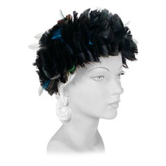 1960s Iridescent Black Feathered Hat