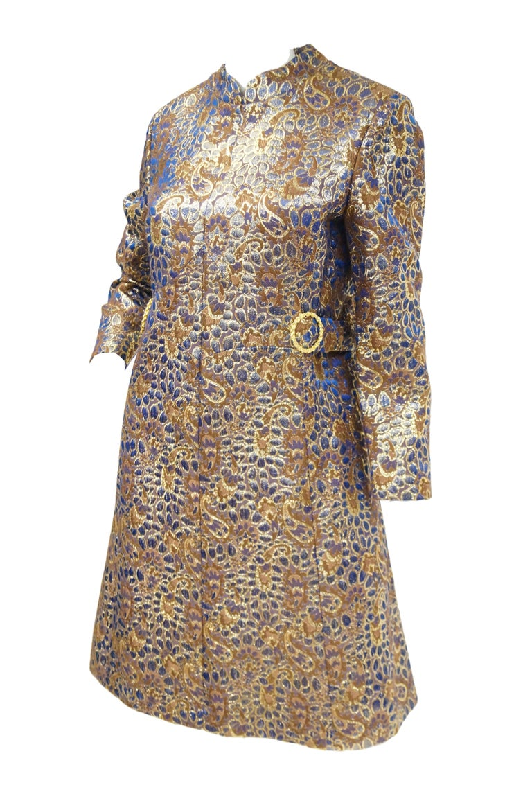1960s Iridescent Blue and Brown Floral Brocade Mod Dress In Excellent Condition For Sale In Houston, TX