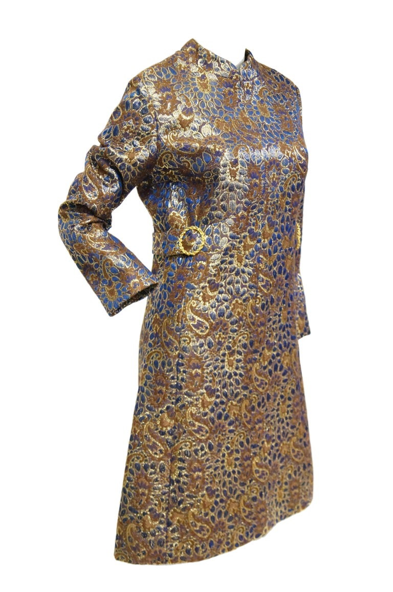 Women's 1960s Iridescent Blue and Brown Floral Brocade Mod Dress For Sale