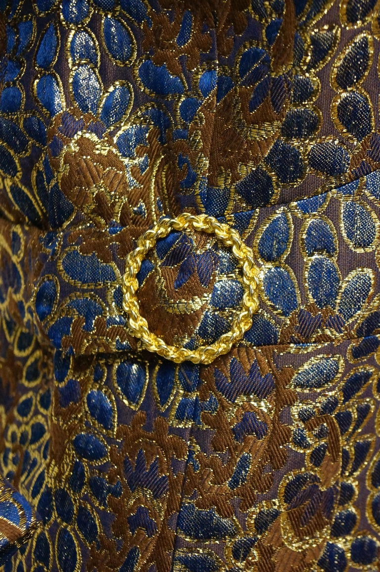 1960s Iridescent Blue and Brown Floral Brocade Mod Dress For Sale 1