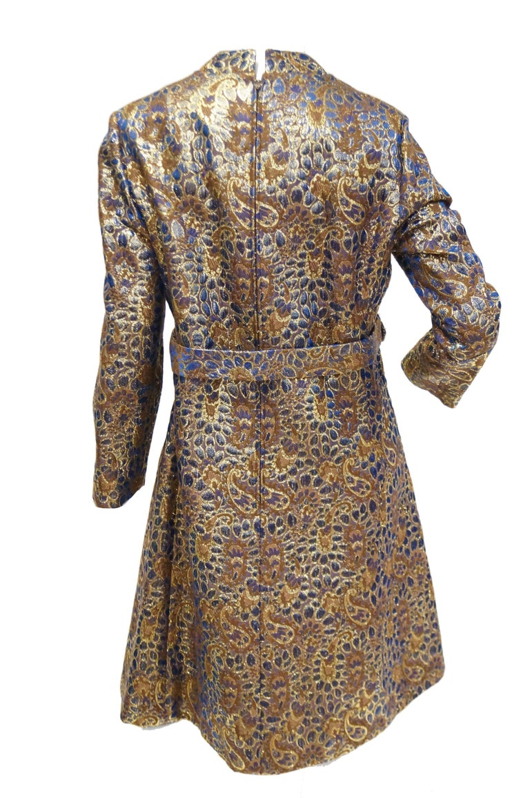 1960s Iridescent Blue and Brown Floral Brocade Mod Dress For Sale 2