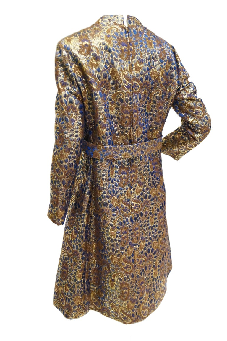 1960s Iridescent Blue and Brown Floral Brocade Mod Dress For Sale 3