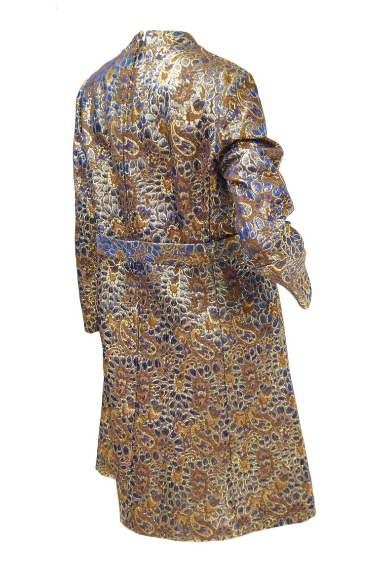 1960s Iridescent Blue and Brown Floral Brocade Mod Dress For Sale 4