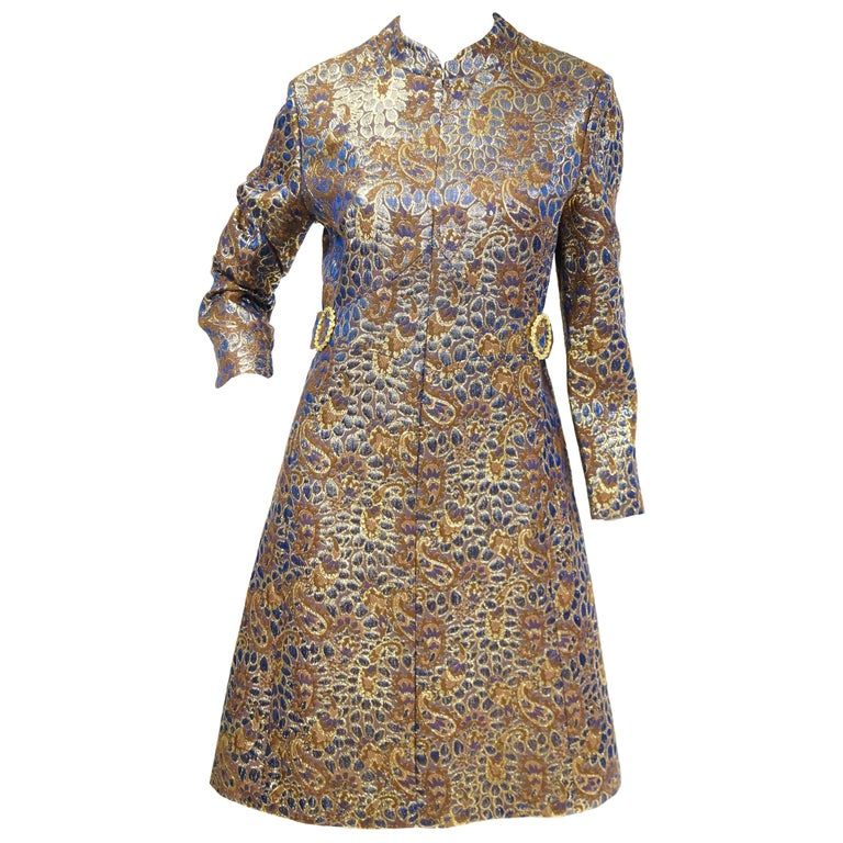 1960s Iridescent Blue and Brown Floral Brocade Mod Dress For Sale