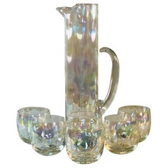 1960s Iridescent Tall Pitcher & Glasses, Set of 7