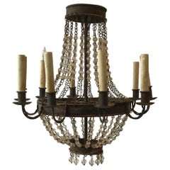 1960s Iron and Crystal Chandelier
