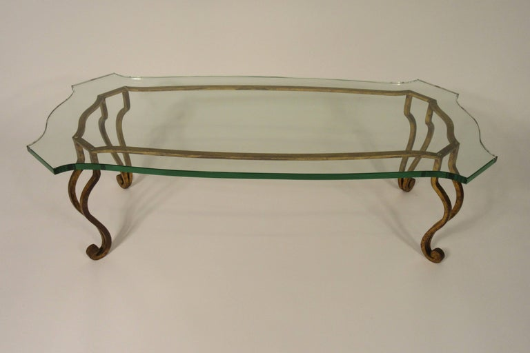 Gold Coffee Table Glass Top.1960s Iron Glass Top Gold Coffee Table