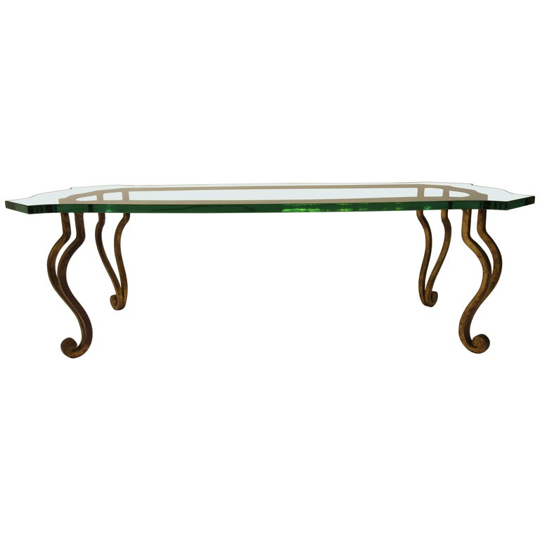1960s Iron Glass Top Gold Coffee Table For Sale At 1stdibs