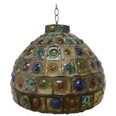 1960s Felipe Delfinger for Feders Jeweled Brutalist Glass Pendant Light Fixture