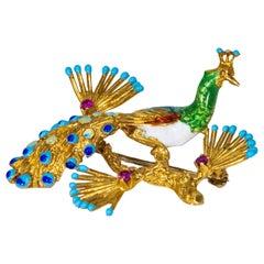 1960s Italian 18 Karat Yellow Gold Ruby Enamel Peacock Brooch Pin Pendant