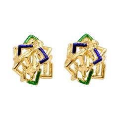 1960's Italian 18k Gold Enamel Earclips