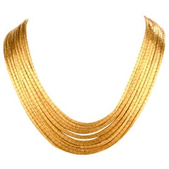 1960s Italian 18 Karat Yellow Satin Gold Multi Strand Link Necklace