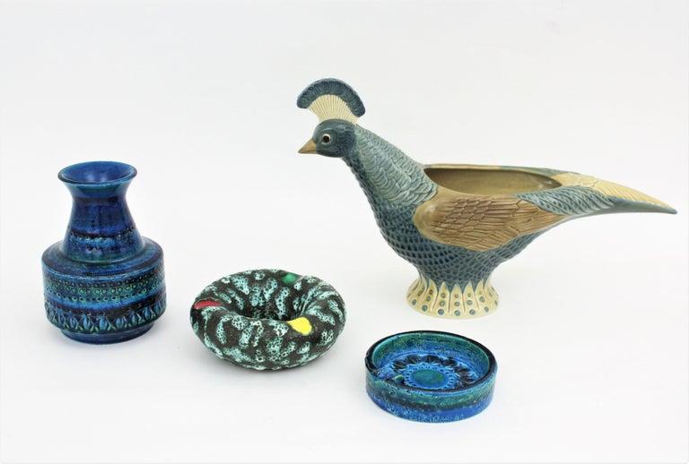 1960s Italian Aldo Londi for Bitossi Rimini Blue Glazed Ceramic Conic Vase For Sale 4