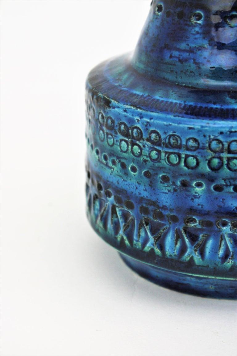 1960s Italian Aldo Londi for Bitossi Rimini Blue Glazed Ceramic Conic Vase For Sale 5