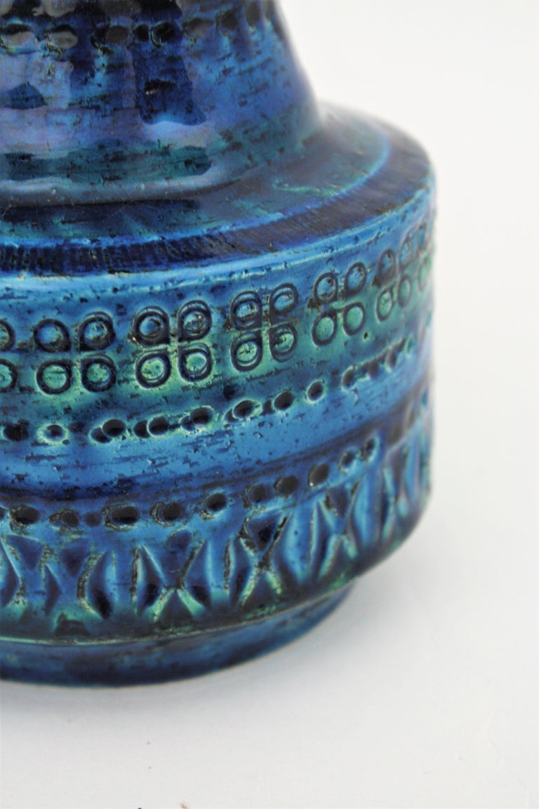 1960s Italian Aldo Londi for Bitossi Rimini Blue Glazed Ceramic Conic Vase For Sale 6