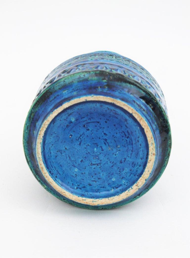 1960s Italian Aldo Londi for Bitossi Rimini Blue Glazed Ceramic Conic Vase For Sale 7