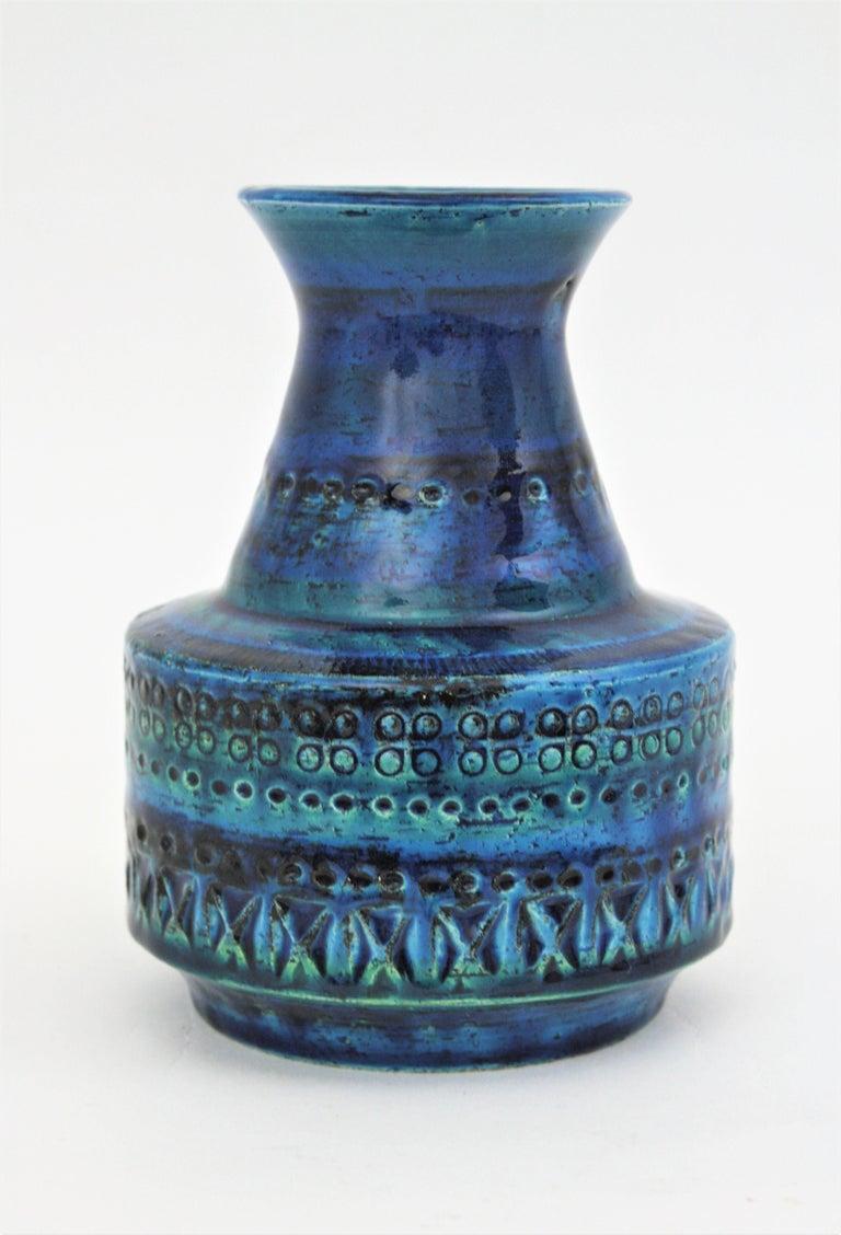 20th Century 1960s Italian Aldo Londi for Bitossi Rimini Blue Glazed Ceramic Conic Vase For Sale