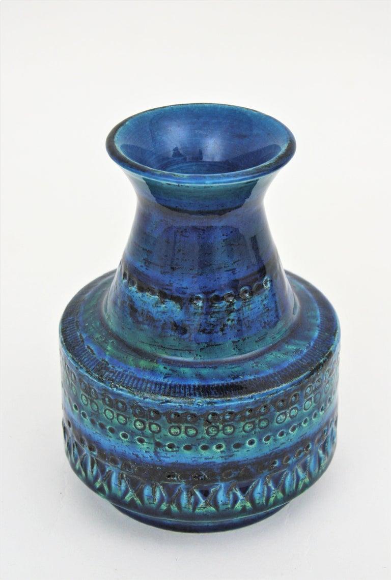 1960s Italian Aldo Londi for Bitossi Rimini Blue Glazed Ceramic Conic Vase For Sale 1