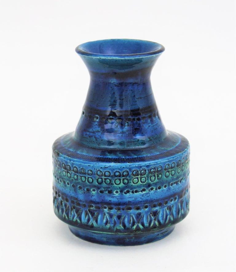 1960s Italian Aldo Londi for Bitossi Rimini Blue Glazed Ceramic Conic Vase For Sale 2