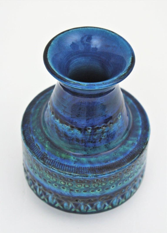 1960s Italian Aldo Londi for Bitossi Rimini Blue Glazed Ceramic Conic Vase For Sale 3