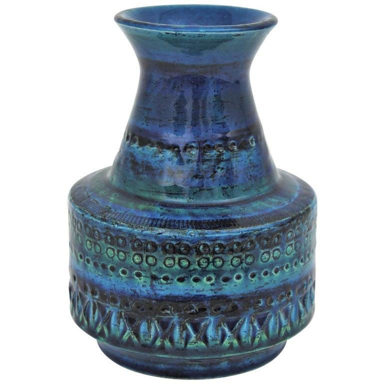 1960s Italian Aldo Londi for Bitossi Rimini Blue Glazed Ceramic Conic Vase For Sale