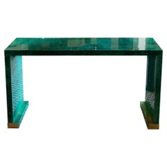 1960s Italian Aldo Tura Console Green Parchment with Brass Details
