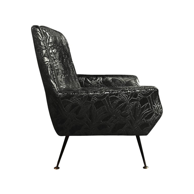 Angled back armchair newly upholstered in black gold metallic floral patterned silk, Italian, 1960s.