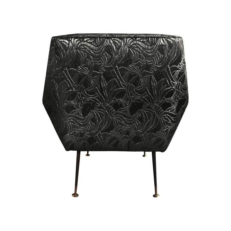 1960s Italian Armchair in Black Gold Metallic Floral Patterned Silk In Excellent Condition For Sale In New York, NY
