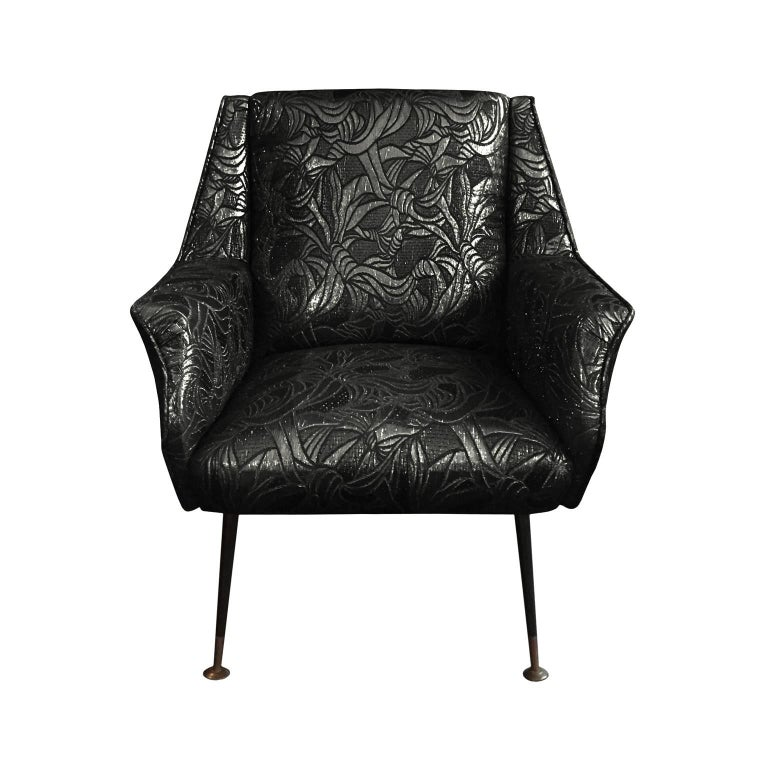 Mid-20th Century 1960s Italian Armchair in Black Gold Metallic Floral Patterned Silk For Sale