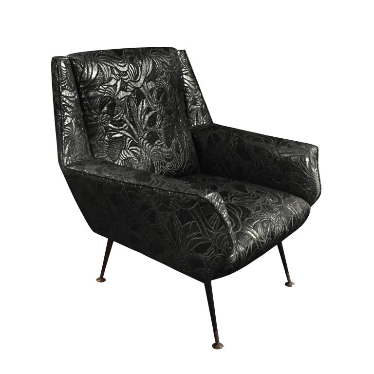 1960s Italian Armchair in Black Gold Metallic Floral Patterned Silk For Sale