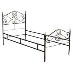 1960s Italian Art Nouveau Single Bed in Painted Wrought Iron, Golden Parts