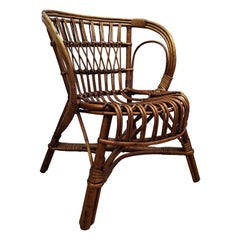 1960s Italian Bamboo and Rattan Bohemian French Riviera Children Mini Hoop Chair