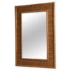 1960s Italian Bamboo Mirror