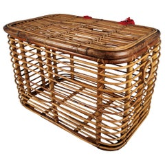 1960s Italian Bamboo Rattan Bohemian French Riviera Basket Container