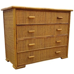 1960s Italian Bamboo & Rattan Bohemian French Riviera Commode Four Drawers Chest