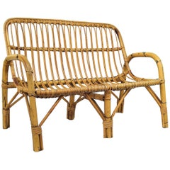 1960s Italian Bamboo Rattan Bohemian French Riviera Lounge Bench Chair