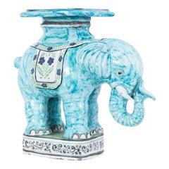 1960s Italian Blue Ceramic Elephant