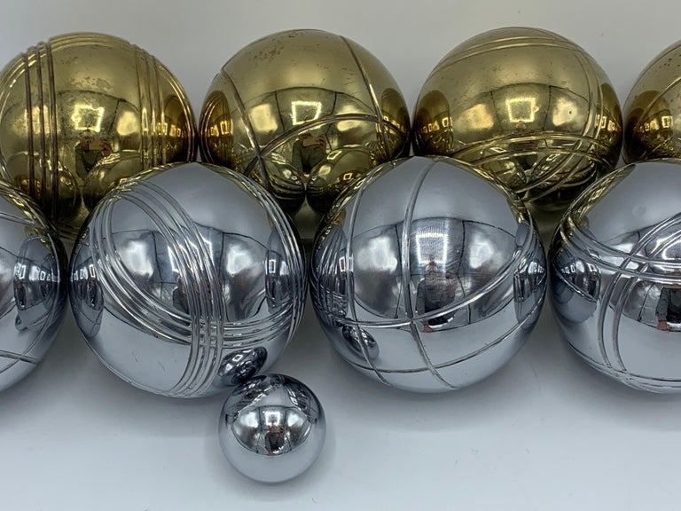 Modern 1960s Italian Brass and Chrome Bocce Ball Set, 9 Pieces